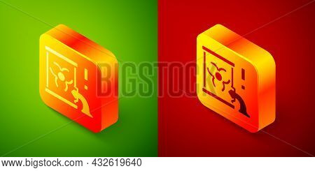 Isometric Radioactive Waste In Barrel Icon Isolated On Green And Red Background. Barrel With Radioac