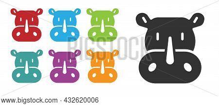 Black Rhinoceros Icon Isolated On White Background. Animal Symbol. Set Icons Colorful. Vector