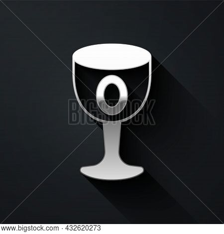 Silver Medieval Goblet Icon Isolated On Black Background. Holy Grail. Long Shadow Style. Vector