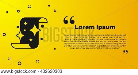 Black Magic Scroll Icon Isolated On Yellow Background. Decree, Paper, Parchment, Scroll Icon. Vector