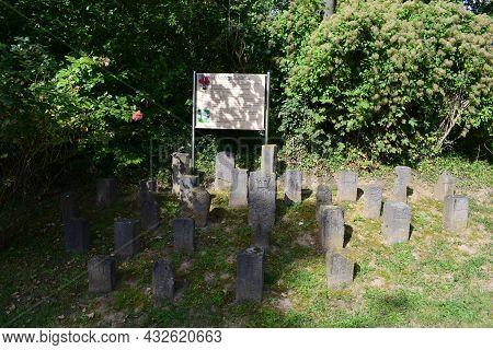 Koblenz, Germany: September 6th 2021: Collection Of Former Border Stones In Arenberg, Koblenz