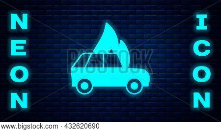 Glowing Neon Burning Car Icon Isolated On Brick Wall Background. Car On Fire. Broken Auto Covered Wi