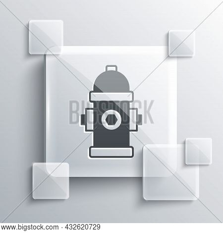 Grey Fire Hydrant Icon Isolated On Grey Background. Square Glass Panels. Vector