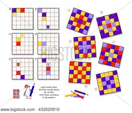 Logic Puzzle Game For Children And Adults. Find Correct Places For All Tiles. Paint Them According T