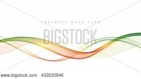 Abstract Green Wavy Lines. Green Vector Background Smoke Transparent Wave