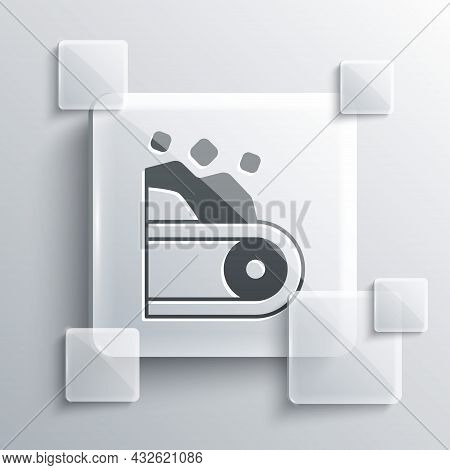 Grey Conveyor Belt Carrying Coal Icon Isolated On Grey Background. Square Glass Panels. Vector