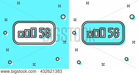 Black Line 5g New Wireless Internet Wifi Connection Icon Isolated On Green And White Background. Glo