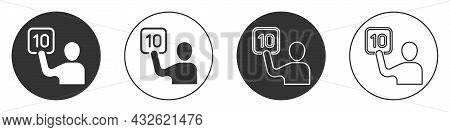 Black Assessment Of Judges Icon Isolated On White Background. Circle Button. Vector