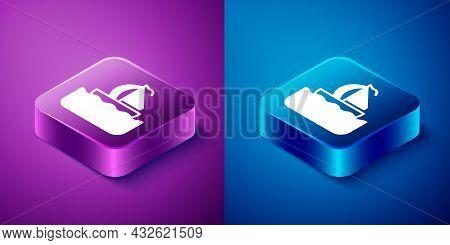 Isometric Yacht Sailboat Or Sailing Ship Icon Isolated On Blue And Purple Background. Sail Boat Mari