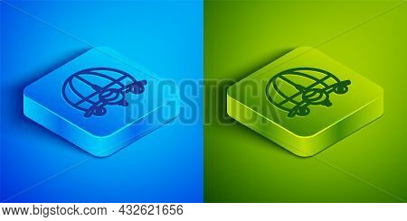 Isometric Line Globe With Flying Plane Icon Isolated On Blue And Green Background. Airplane Fly Arou