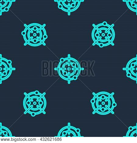 Green Line Target Sport Icon Isolated Seamless Pattern On Blue Background. Clean Target With Numbers