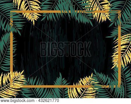 Tropical Leaves Frame. Exotic Jungle Rainforest Border. Vector Illustration.