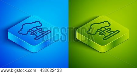 Isometric Line Nuclear Explosion Icon Isolated On Blue And Green Background. Atomic Bomb. Symbol Of