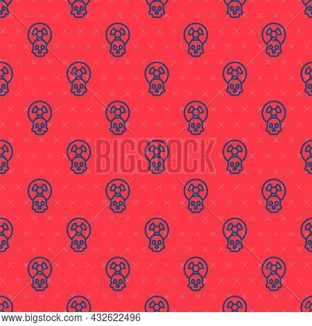 Blue Line Radioactive Icon Isolated Seamless Pattern On Red Background. Radioactive Toxic Symbol. Ra