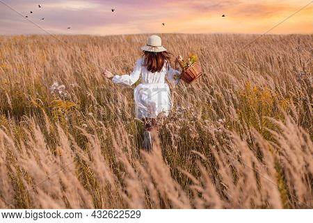 A Beautiful Woman With A Basket Of Herbs Runs In A Field Of Flowers. Herbalist Concept, Happiness.