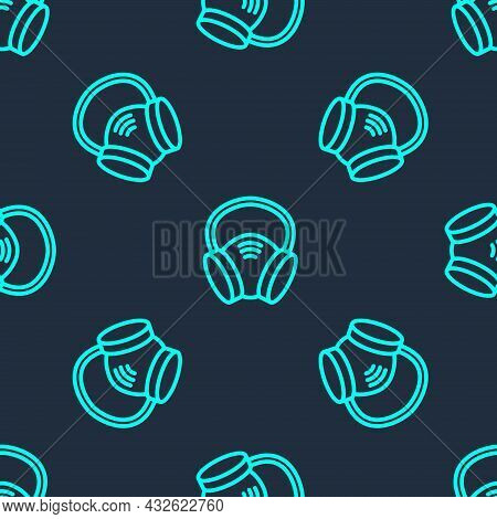 Green Line Gas Mask Icon Isolated Seamless Pattern On Blue Background. Respirator Sign. Vector