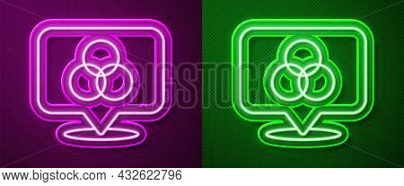 Glowing Neon Line Rgb And Cmyk Color Mixing Icon Isolated On Purple And Green Background. Vector