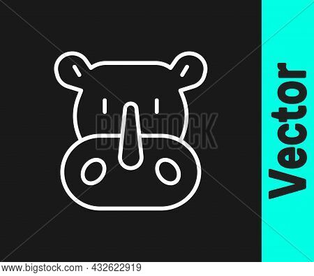 White Line Rhinoceros Icon Isolated On Black Background. Animal Symbol. Vector
