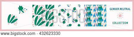 Playful Fresh Doodle Shape Seamless Background Collection. Modern Whimsical Minimal Retro Design Pat