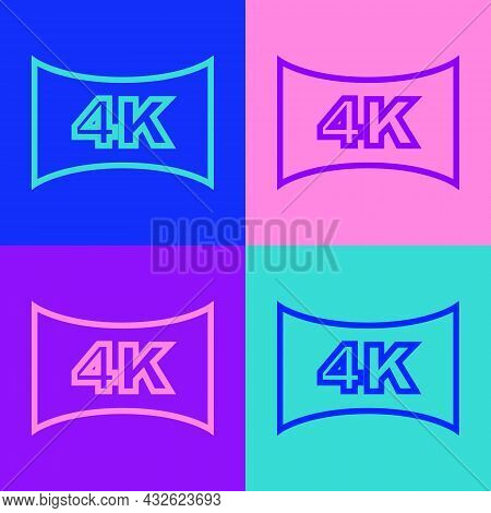 Pop Art Line Screen Tv With 4k Ultra Hd Video Technology Icon Isolated On Color Background. Vector