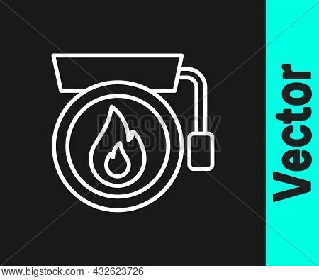 White Line Ringing Alarm Bell Icon Isolated On Black Background. Fire Alarm System. Service Bell, Ha