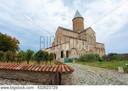 Tusheti, Georgia - 23 August, 2021: Alaverdi Monastery - Georgian Eastern Orthodox Monastery In Kakh