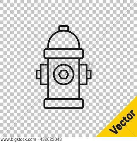 Black Line Fire Hydrant Icon Isolated On Transparent Background. Vector