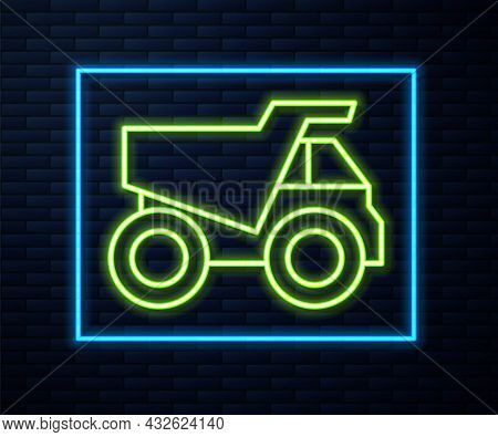 Glowing Neon Line Mining Dump Truck Icon Isolated On Brick Wall Background. Vector
