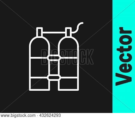 White Line Aqualung Icon Isolated On Black Background. Oxygen Tank For Diver. Diving Equipment. Extr