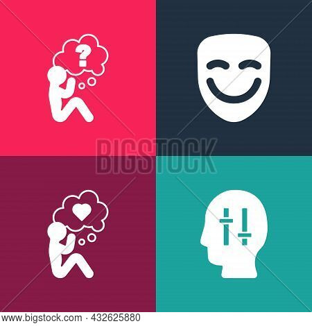 Set Pop Art Solution To The Problem, Head With Heart, Comedy Theatrical Mask And Question Mark Icon.