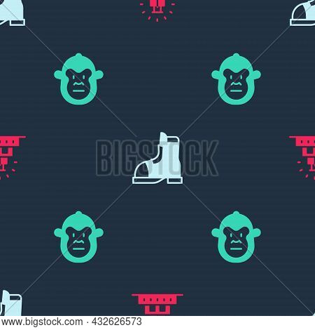 Set Chichen Itza In Mayan, Hunter Boots And Monkey On Seamless Pattern. Vector