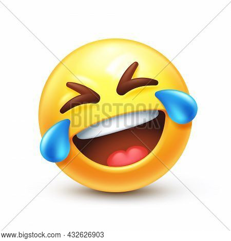 Rolling On The Floor Laughing, Funny To Tears Emoticon 3d Stylized Vector Icon