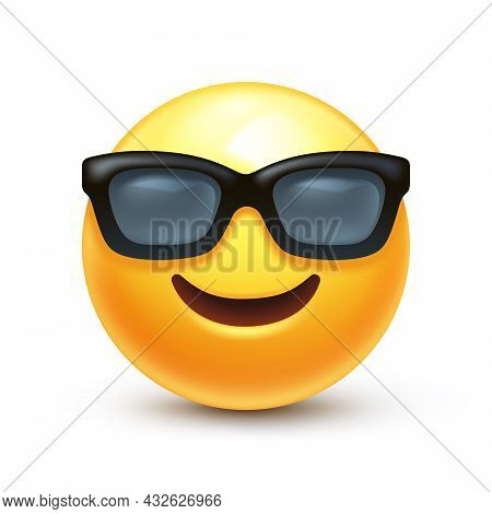 Smiling Face With Sunglasses Emoji. Happy Smile Person Wearing Dark Glasses 3d Stylized Vector Icon