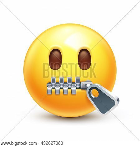 Silent Emoticon With Closed Metal Zipper For Mouth, Secret 3d Stylized Vector Icon