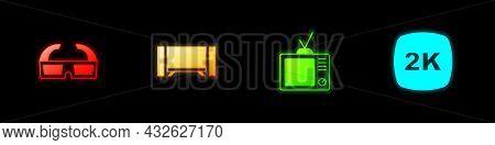 Set 3d Cinema Glasses, Smart Tv, Retro Tv And 2k Ultra Hd Icon. Vector
