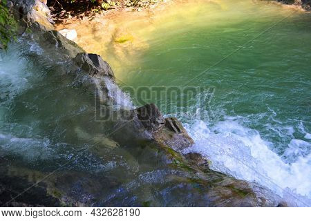 Waterfall In The Mountains, A Small Waterfall In The Mountains In Summer, Falling Water, Wildlife, R