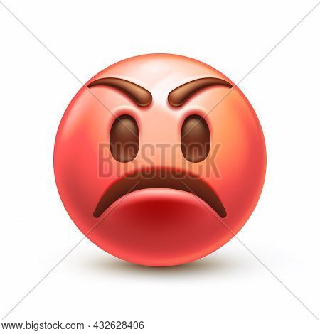 Frowned Red Face, Grumpy Facial Expression Or Anger Emoticon 3d Stylized Vector Icon