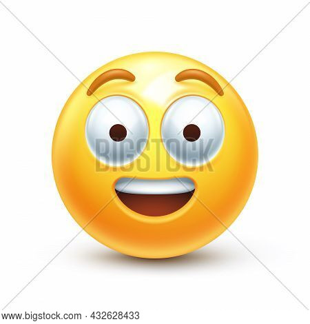 Surprised Emoticon With Big Eyes, Open Smile And Raised Eyebrows 3d Stylized Vector Icon
