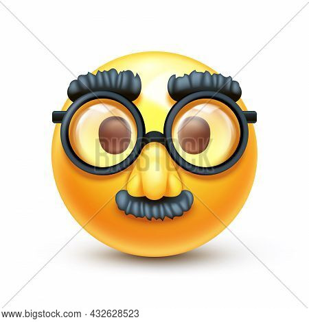 Incognito Emoticon With Fake Large Nose, Eyebrows And Mustache 3d Stylized Vector Icon
