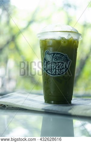 Bangkok, Thailand - September 11, 2021 : A Glass Of Iced Green Tea From Cafe Amazon Are Found In Eve