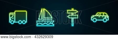 Set Line Delivery Cargo Truck, Yacht Sailboat, Road Traffic Signpost And Hatchback. Glowing Neon Ico