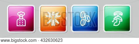 Set Line Italian Cook, Vitruvian Man, Coffee Beans And Roman Army Helmet. Colorful Square Button. Ve