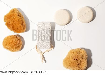 Yellow Natural Bath Or Cleaning Three Sea Sponges, Dray Shampoo, Exfoliating Body Strap And Pumice S