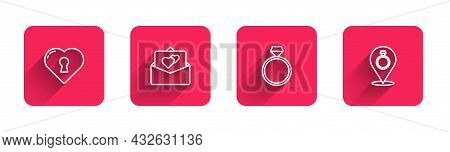 Set Line Heart With Keyhole, Greeting Card, Diamond Engagement Ring And Wedding Rings With Long Shad
