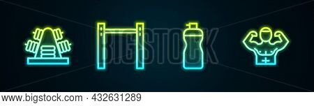 Set Line Metal Rack With Weights, Horizontal Bar, Fitness Shaker And Bodybuilder Muscle. Glowing Neo