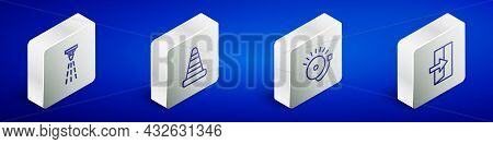 Set Isometric Line Fire Sprinkler, Traffic Cone, Ringing Alarm Bell And Exit Icon. Vector