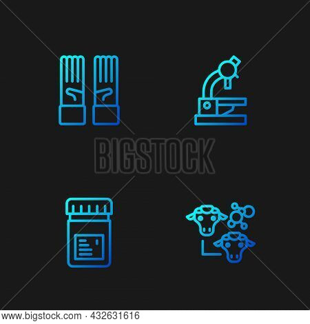 Set Line Cloning, Jar With Additives, Medical Rubber Gloves And Microscope. Gradient Color Icons. Ve
