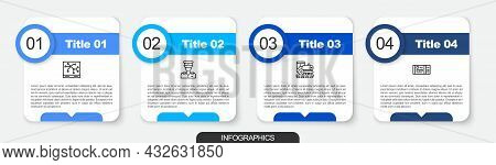 Set Line Railway Map, Train Conductor, Vintage Locomotive And Ticket. Business Infographic Template.
