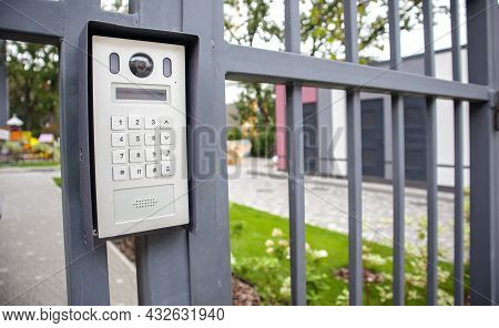 Video Intercom On The Gate At The Entrance To The Residential Area. Electronic Intercom To A Private