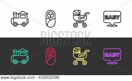 Set Line Toy Train, Newborn Baby Infant Swaddled, Baby Stroller And On Black And White. Vector